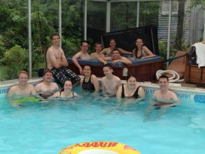 students in hot tub