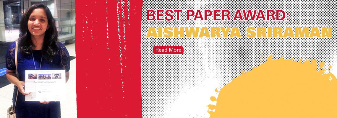 Best Paper Award Aishwarya Sriraman