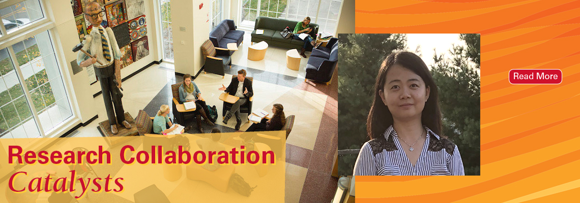 Text reads: Research Collaboration Catalysts, with a photo of a group of people talking in a circle, and another headshot photo of MSE scientist Lin Zhou