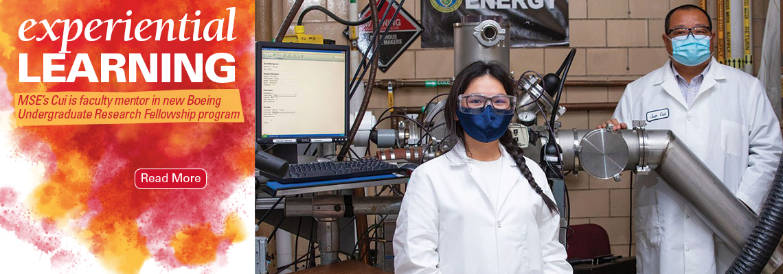 Image text: Experiential learning. MSE's Cui is faculty mentor in new Boeing Undergraduate Research Fellowship program
