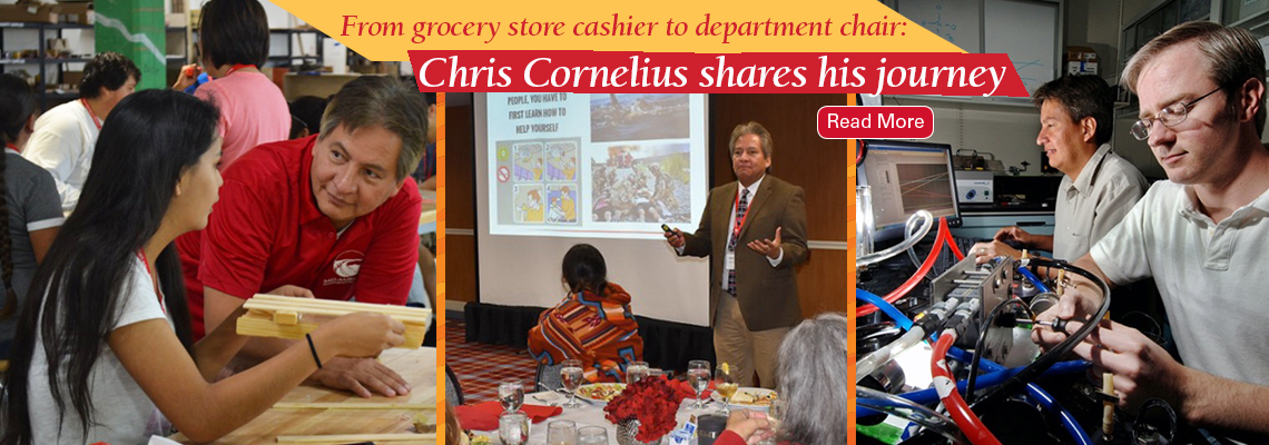 Image text: From grocery store cashier to department chair: Chris Cornelius shares his journey. Read more. Three images show Chris working with a student, teaching students, and working with a scientist in a lab.