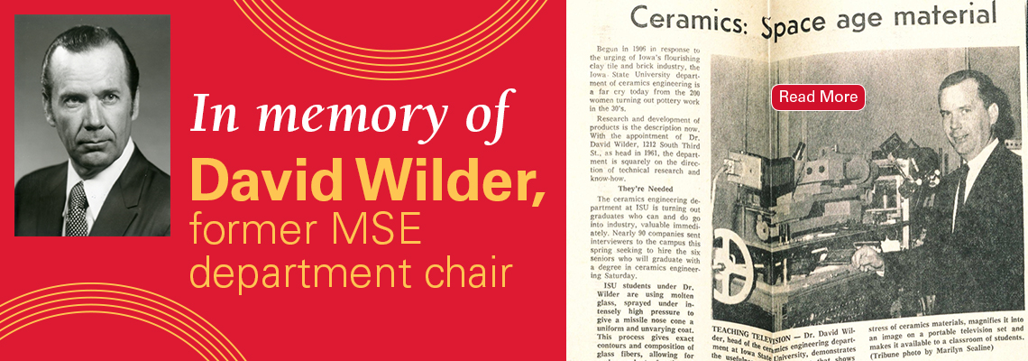 Image text: In memory of David Wilder, former MSE department chair