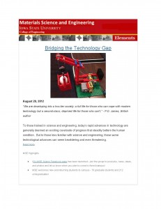 MSE Elements Newsletter - August 2012